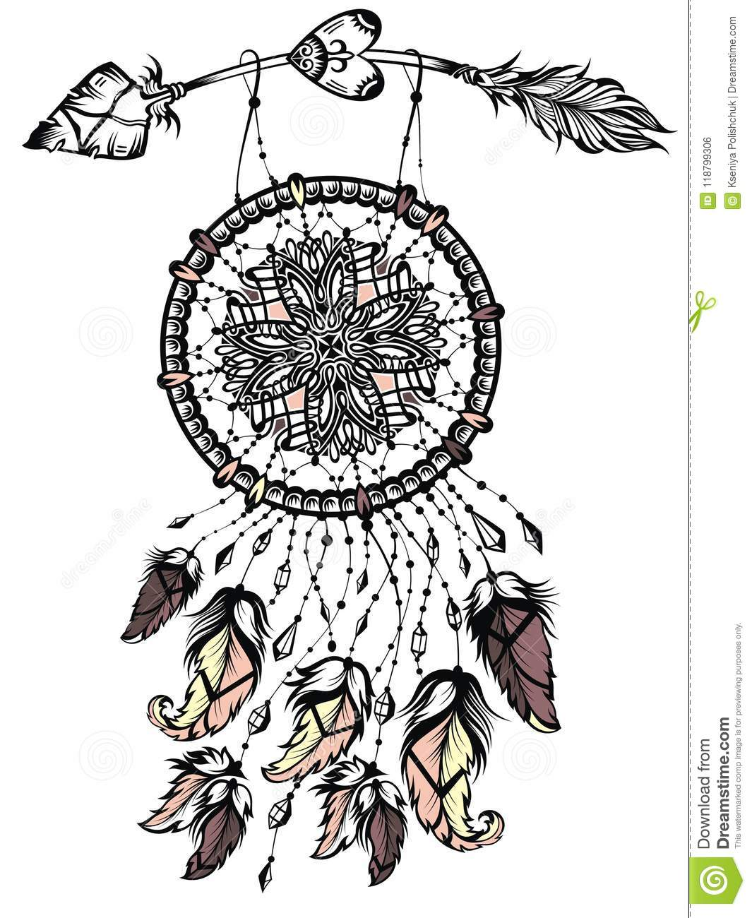 ec6347442 Illustration of dream catcher with arrow, native american poster. Tattoo  designIt may be used for design of a t-shirt, bag, postcard, a poster and  so on.