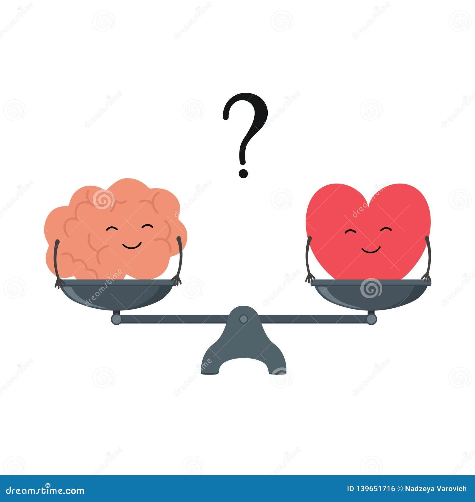 Illustration du concept de l équilibre entre la logique et l émotion Cerveau et coeur de bande dessinée avec les visages mignons