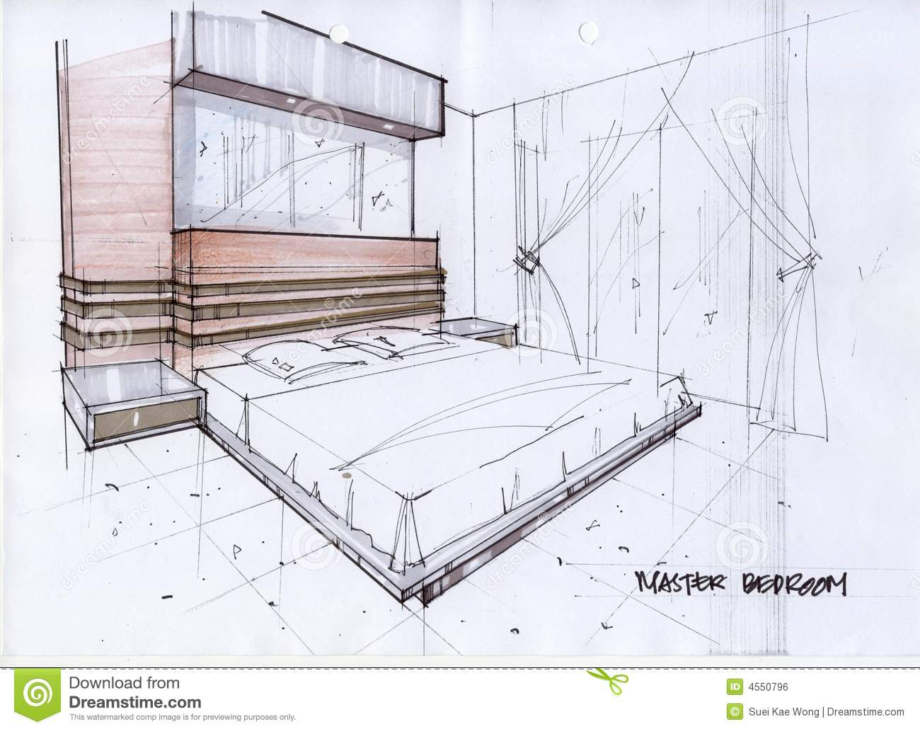 illustration du croquis 3d pour une chambre coucher principale illustration stock image 4550796. Black Bedroom Furniture Sets. Home Design Ideas