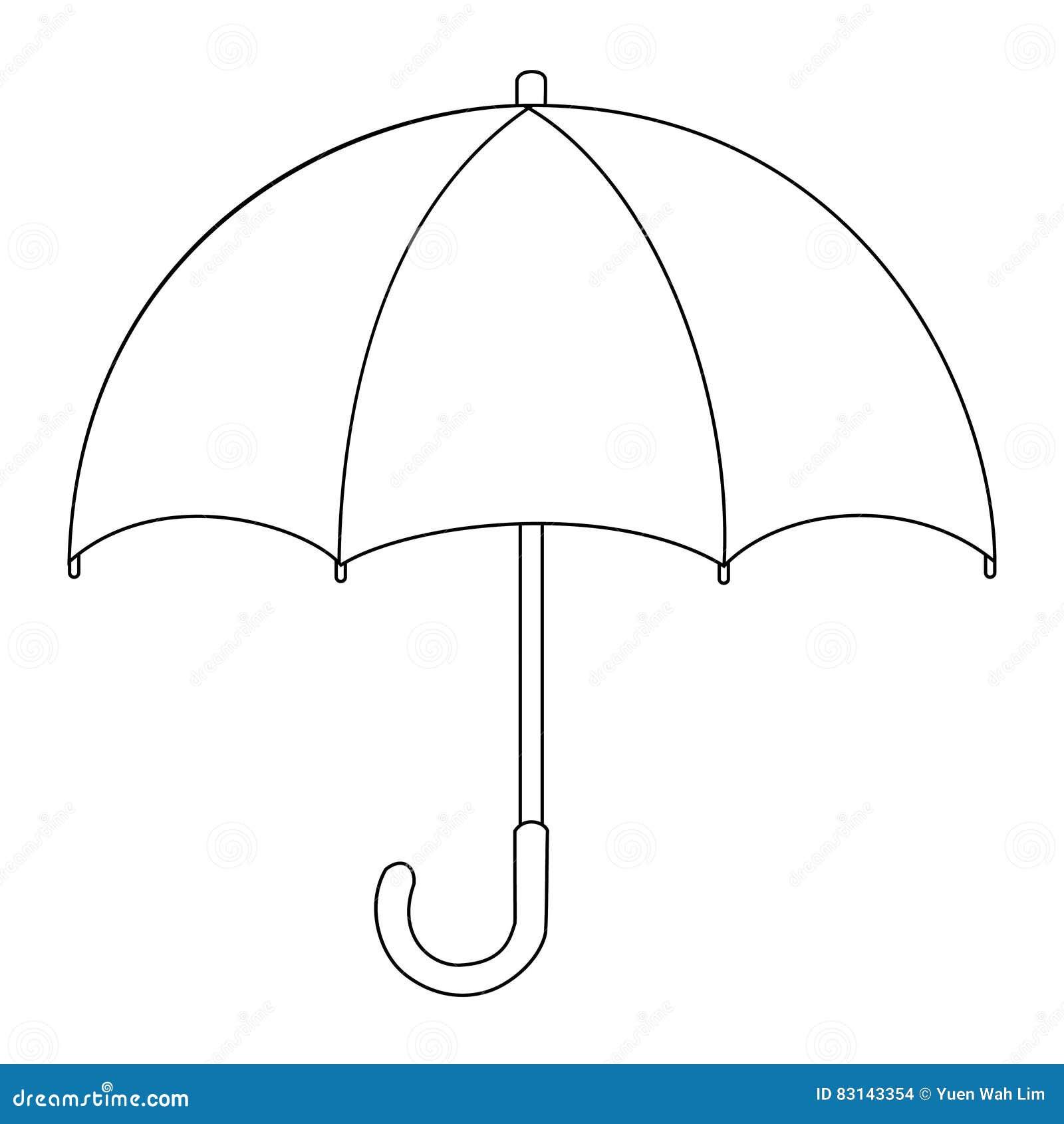 Illustration du dessin d isolement de bande dessinée de parapluie