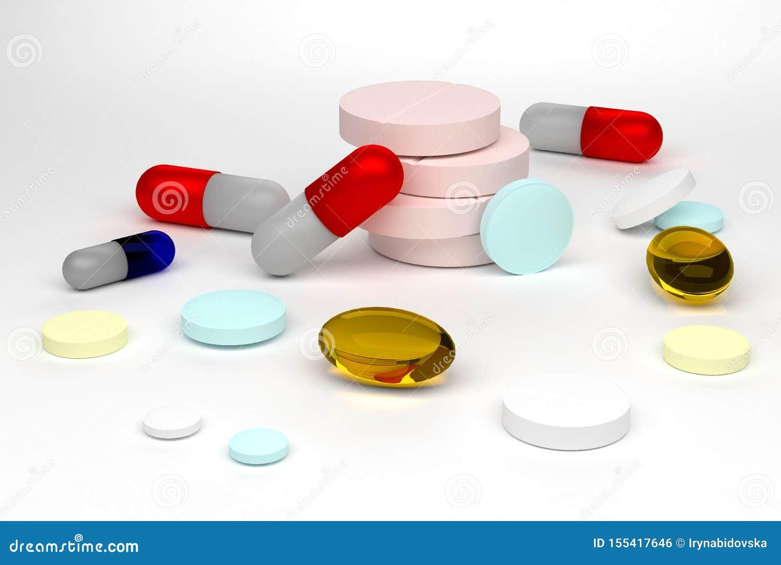 Illustration du rendu 3d des pilules colorées d isolement sur le fond blanc