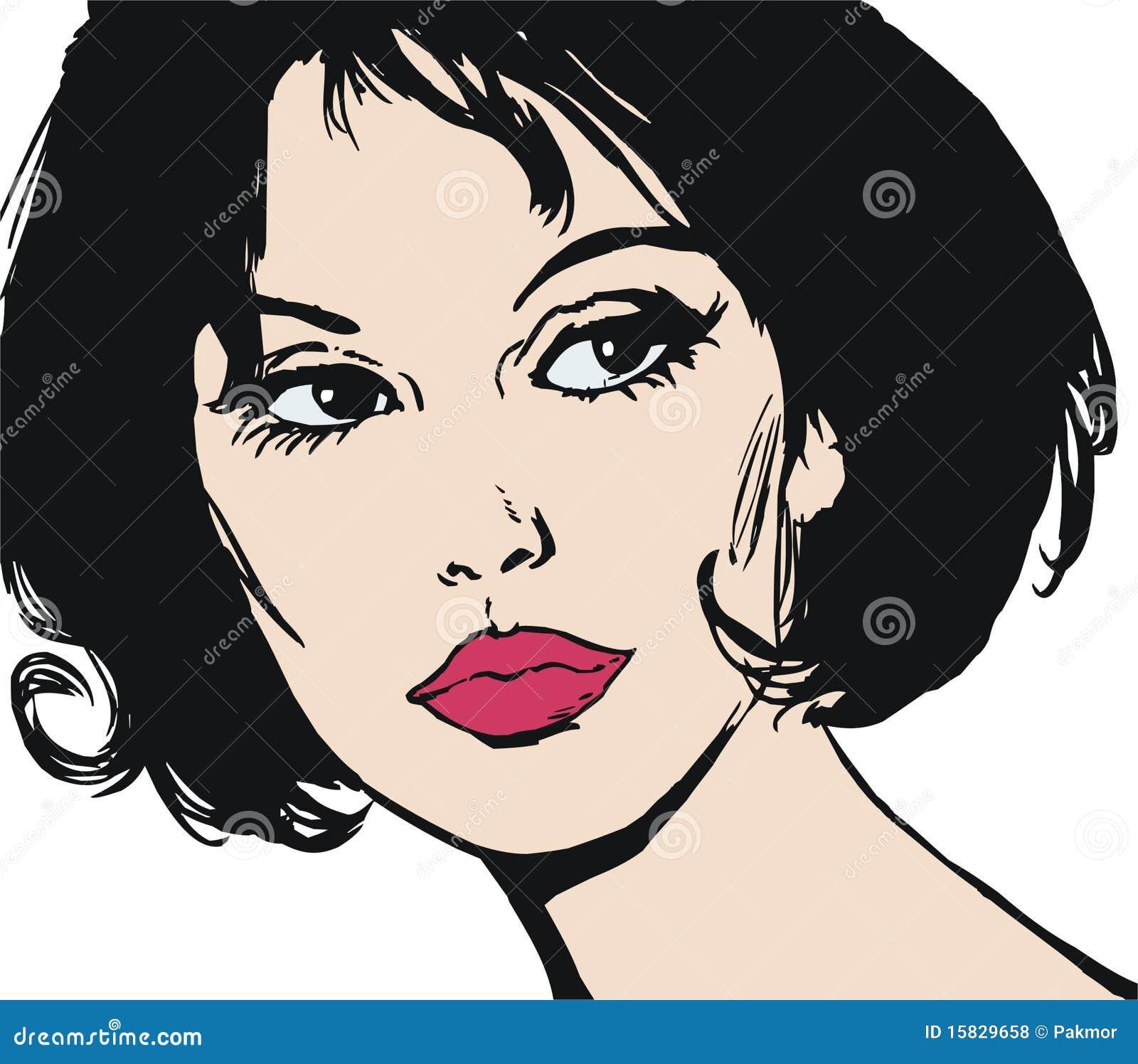 Illustration Visage illustration du visage d'une belle femme illustration stock