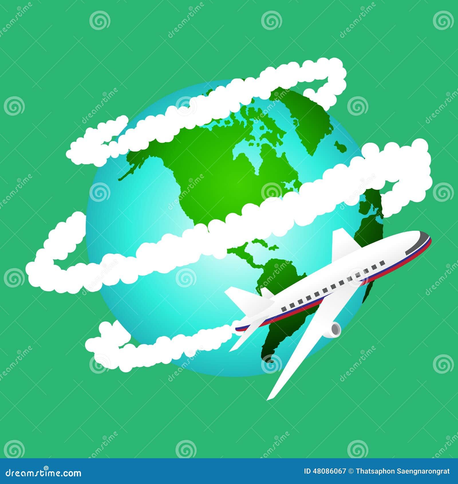 Illustration du voyage d 39 avion autour du monde l ments de carte de la t - Meubles autour du monde ...