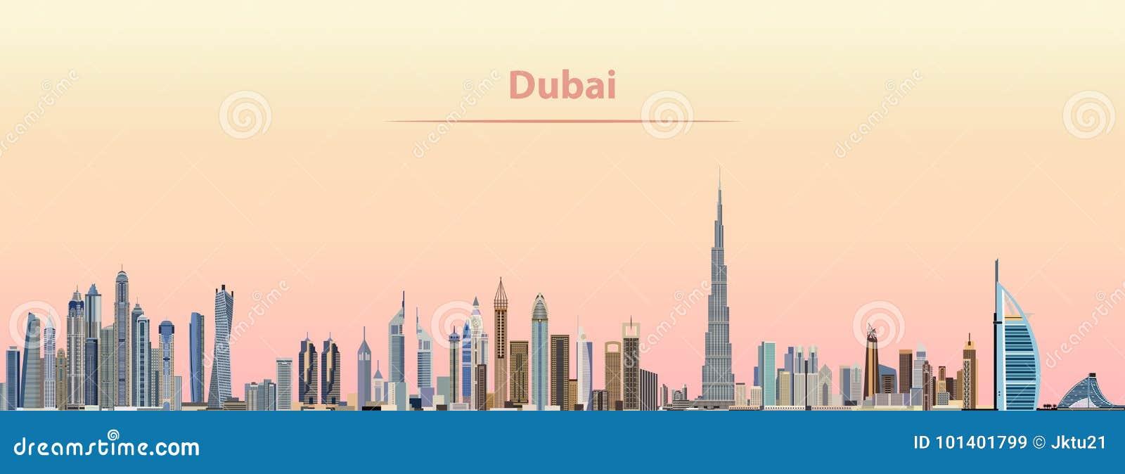 Download Vector Illustration Of Dubai City Skyline At Sunrise Stock Vector - Illustration of silhouette, architecture: 101401799