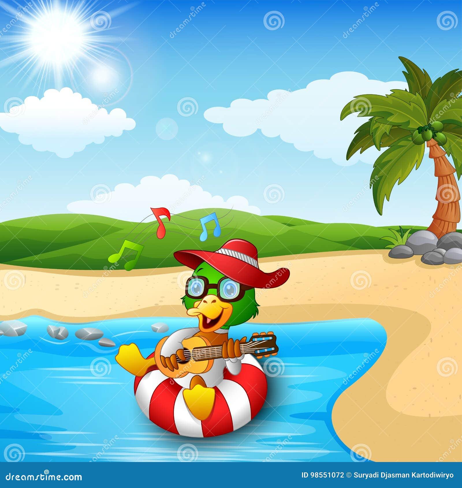 Duck Cartoon Enjoy Playing Guitar And Singing On Beach