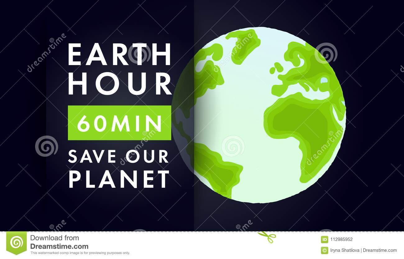 Illustration of Earth hour. 25 march.