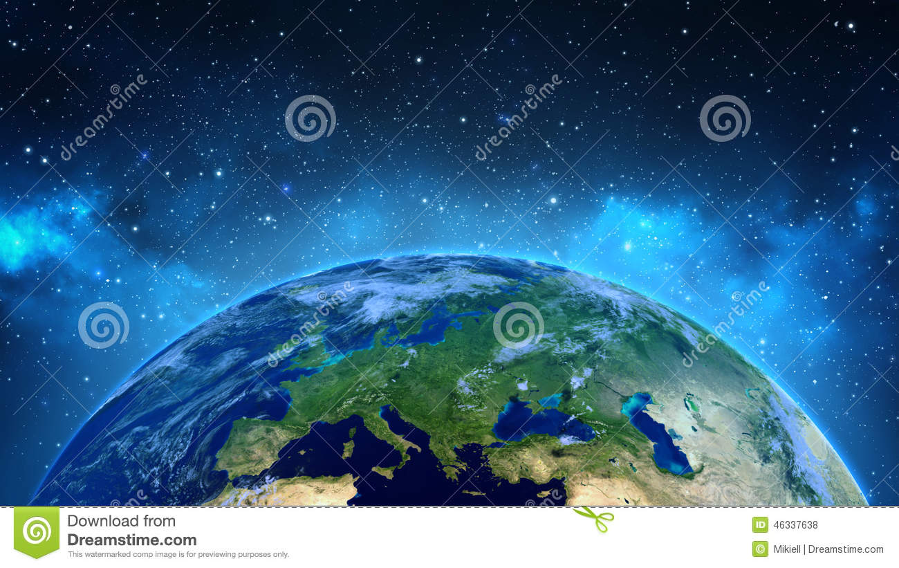 Illustration of earth from outer space stock photo image for 3d map of outer space