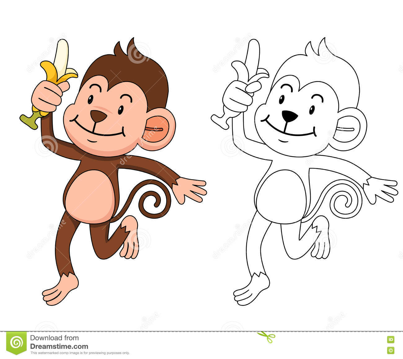 Illustration Of Educational Coloring Book-monkey Stock Vector ...