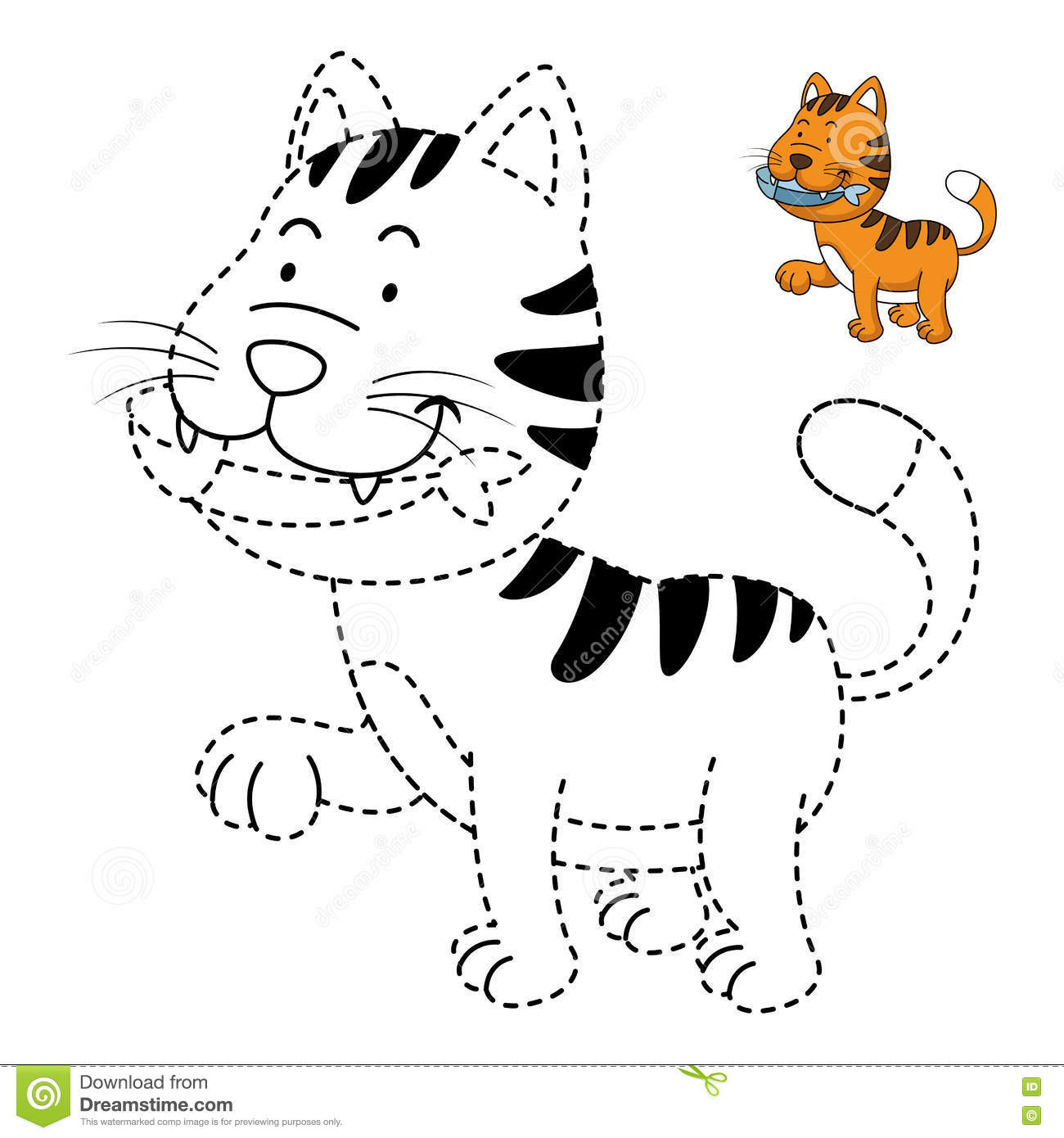 Illustration Of Educational Game For Kids And Coloring Book Cat