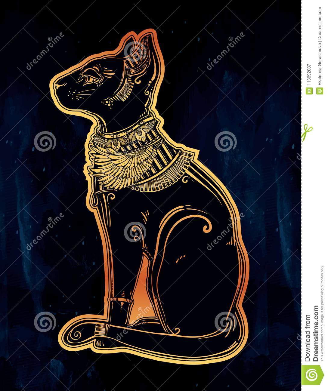 Illustration Of Egyptian Cat Goddess Bastet Stock Vector