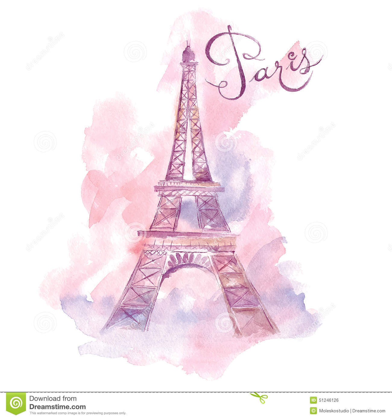 Paris Wall Mural Illustration With Eiffel Tower Stock Vector Illustration