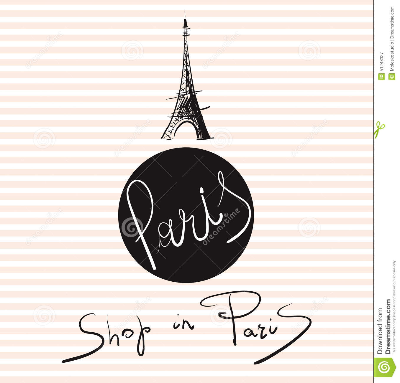 Illustration With Eiffel Tower Stock Vector Illustration Of Shop