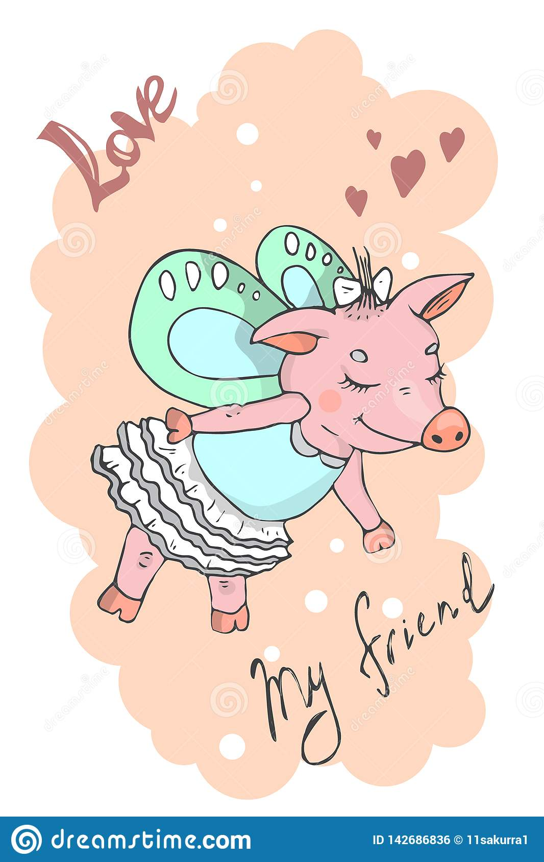 Illustration einer netten Karikatur piggy
