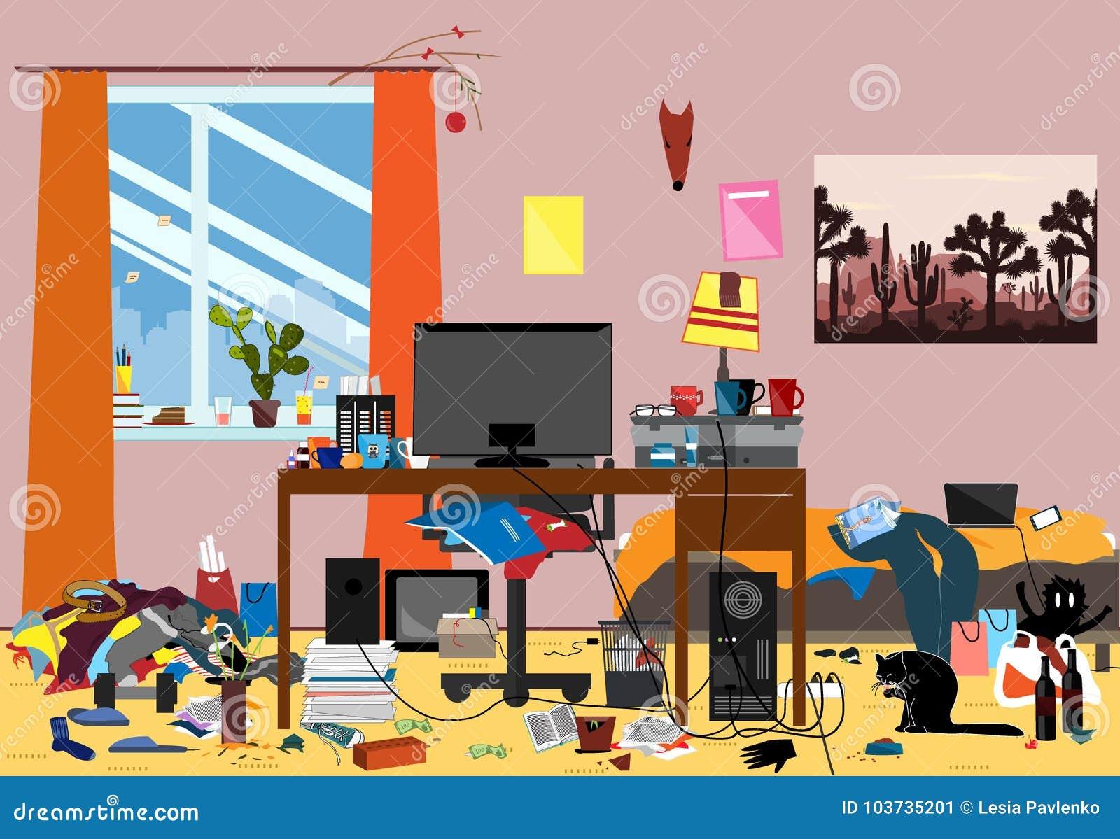Illustration eines durcheinandergebrachten Raumes verunreinigt mit Stücken Abfall Raum, in dem youngguy oder Student lebt