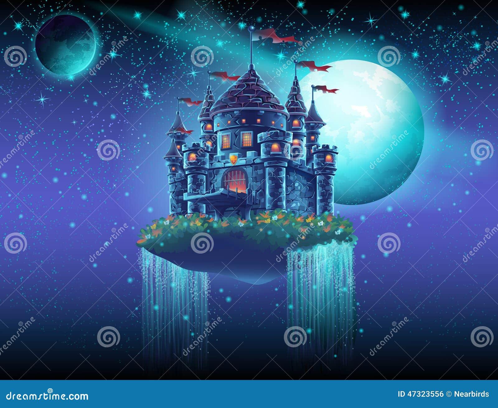 Illustration eines Fliegenschlosses im Raum gegen einen Hintergrund von Sternen und von Planeten