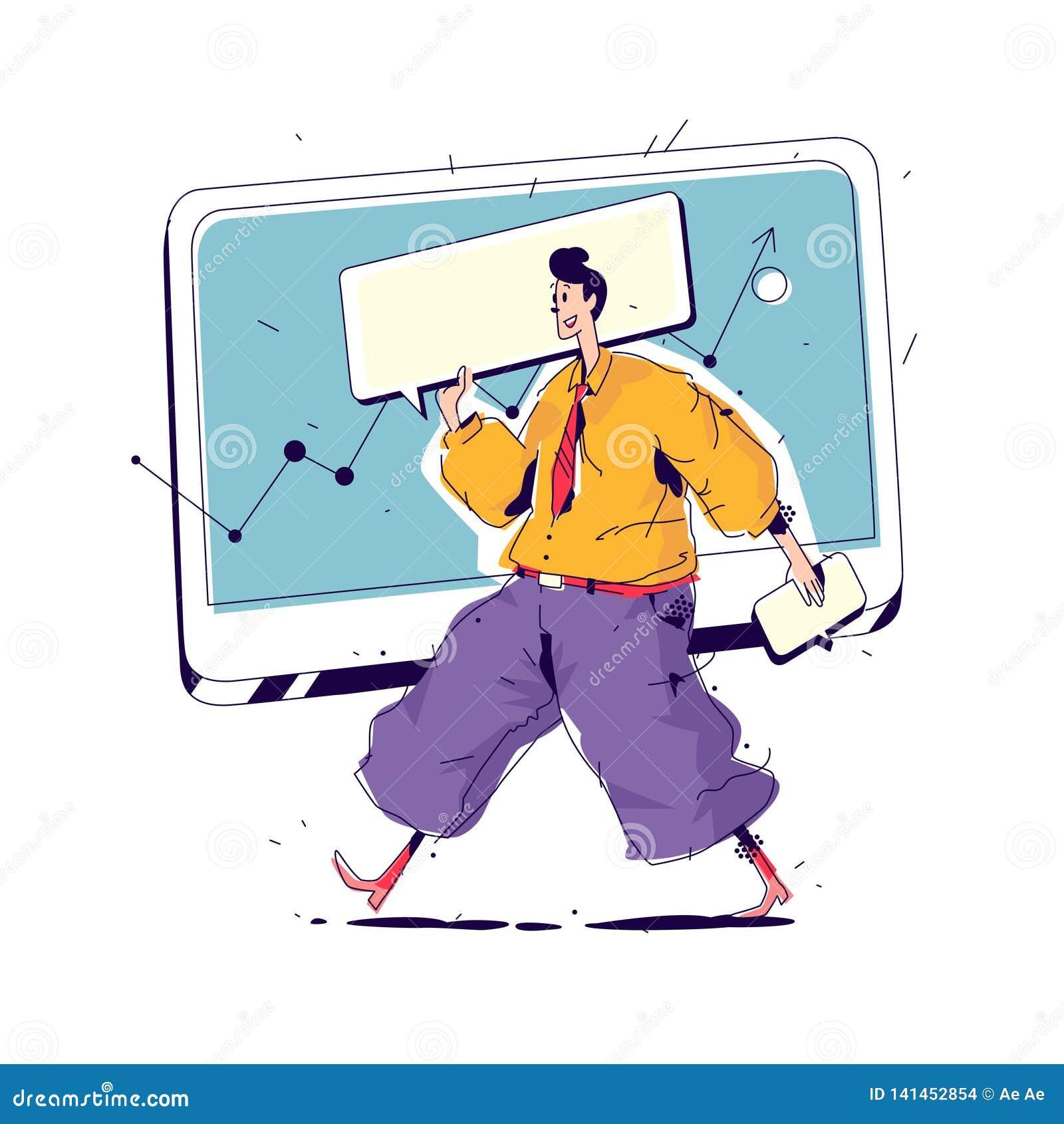 Illustration eines Managers mit einer großen Abdeckung Vektor Manager auf dem Hintergrund der Monitor- und Schnittstellenelemente