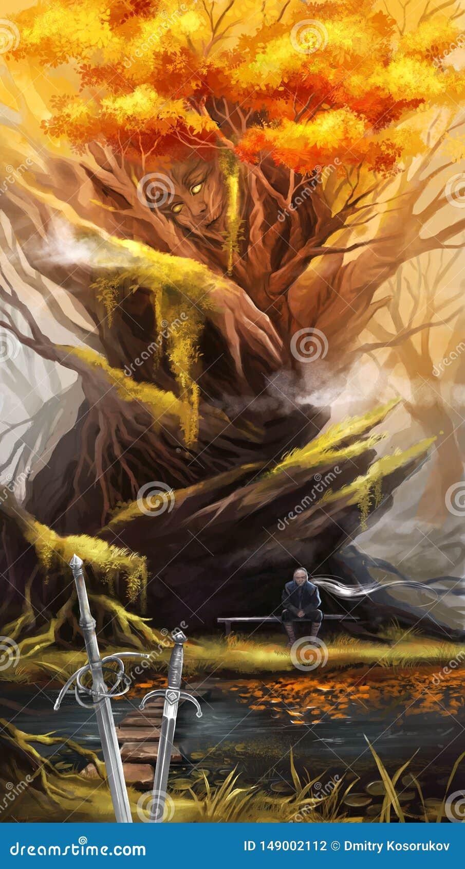 Illustration eines Mannes nach einem Kampf, der nahe einem Baum sitzt
