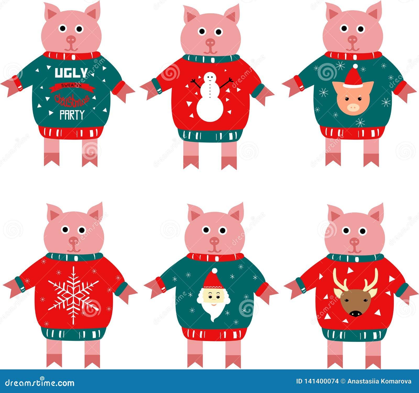 Illustration eines piggy Symbols des neuen Jahres in einer Strickjacke