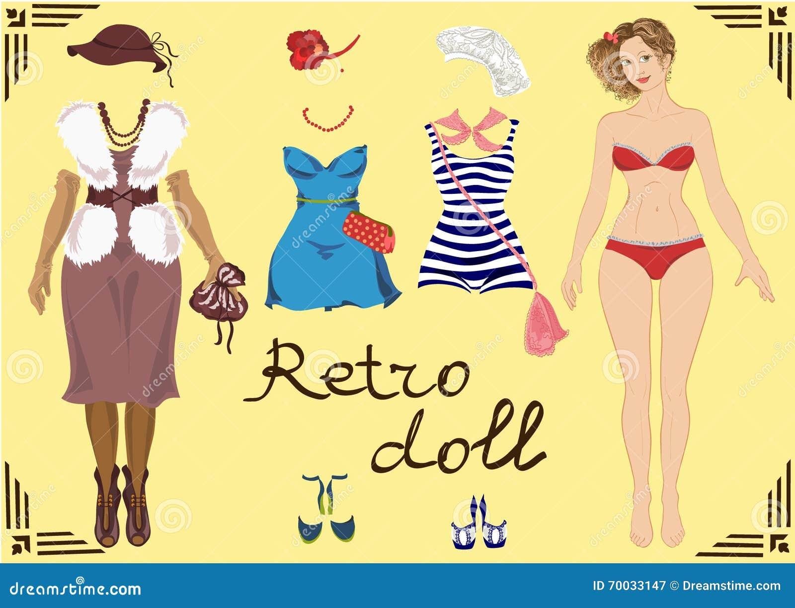 Illustration Eines Retro- Mädchens Mit Retro- Kleidungsdesign Und ...