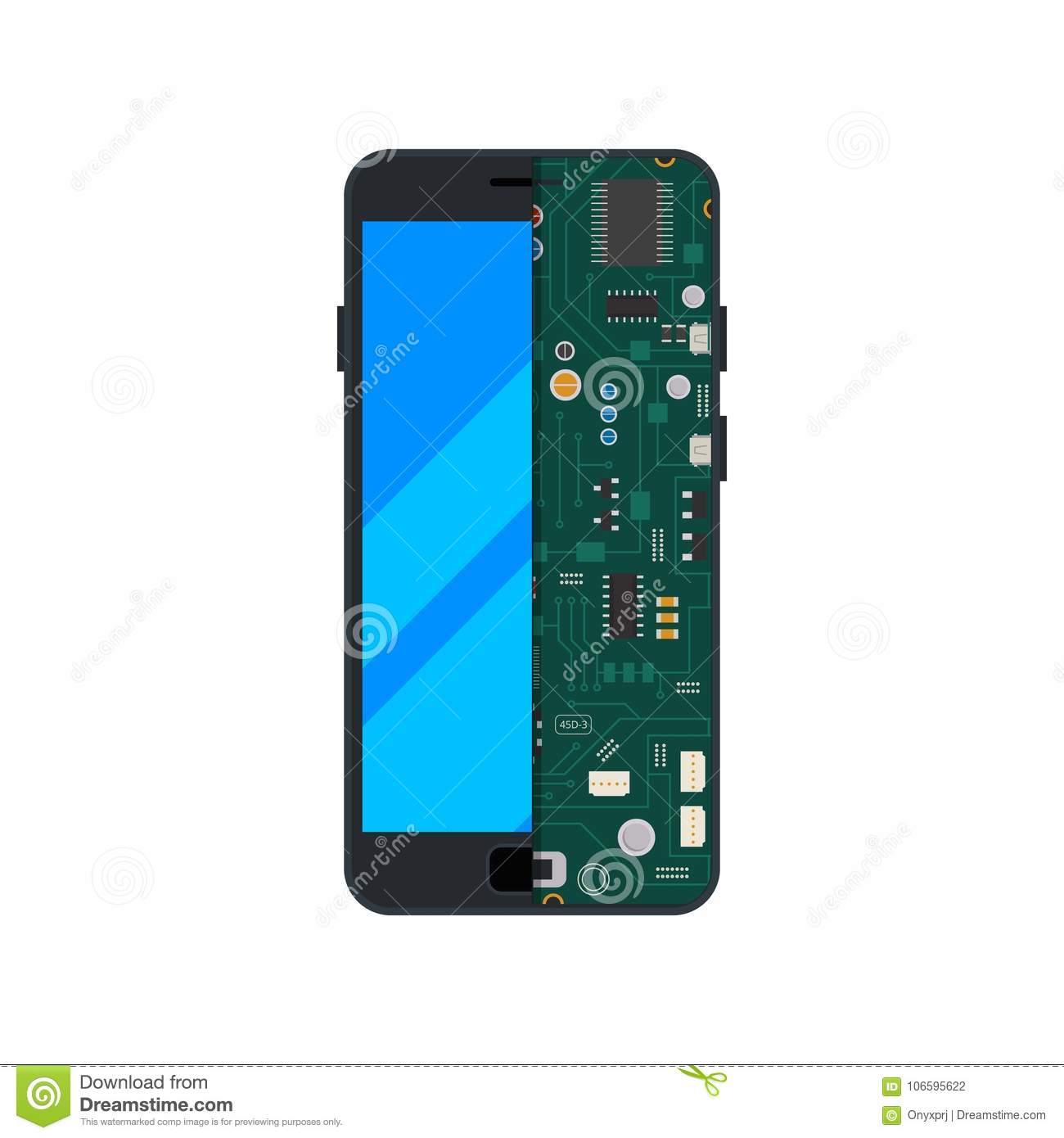 Illustration of electronic circuit of mobile phone or smartphone