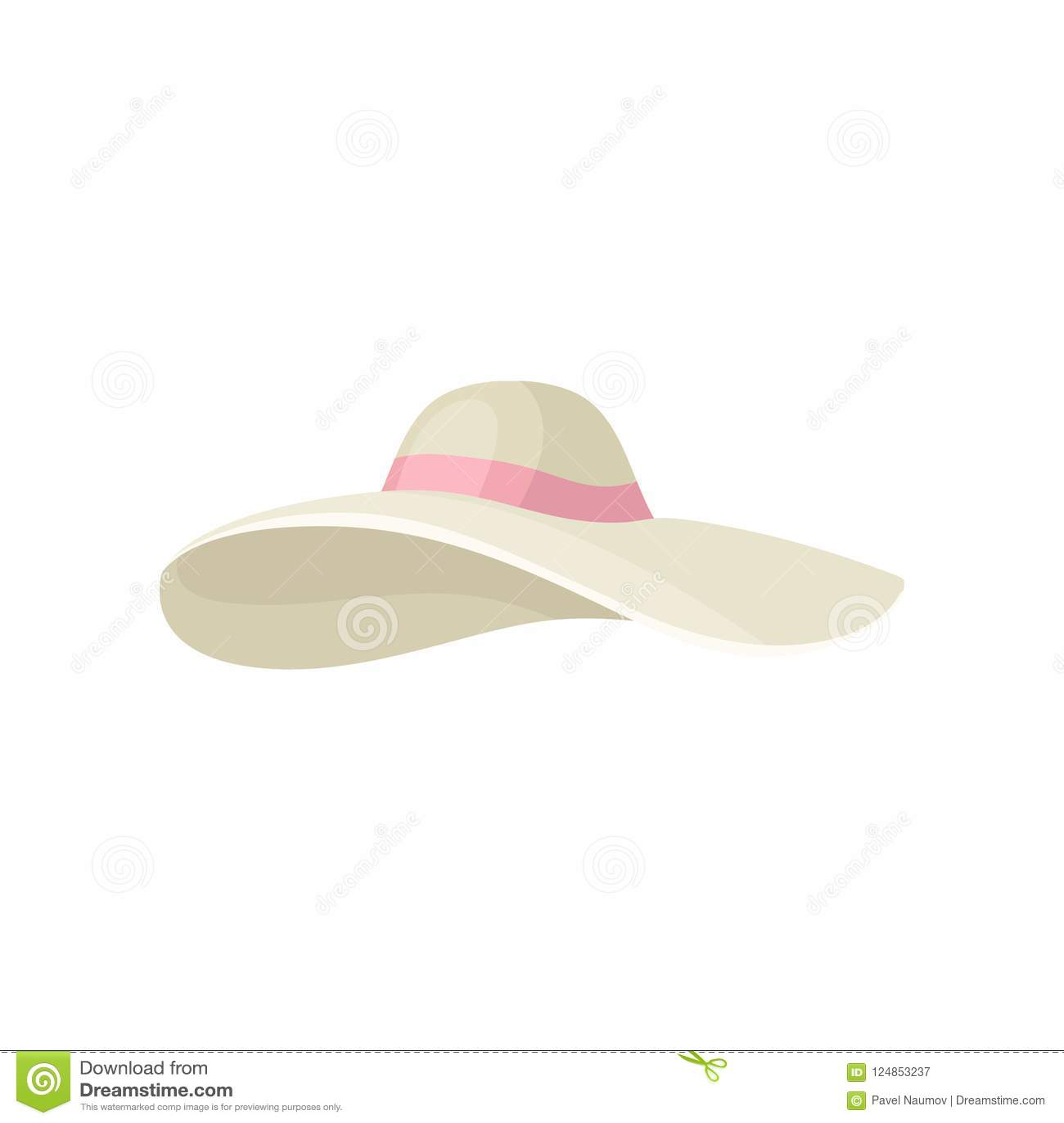 9bfbde0541a Elegant beige women s hat with pink ribbon. Stylish female headwear. Trendy  summer accessory