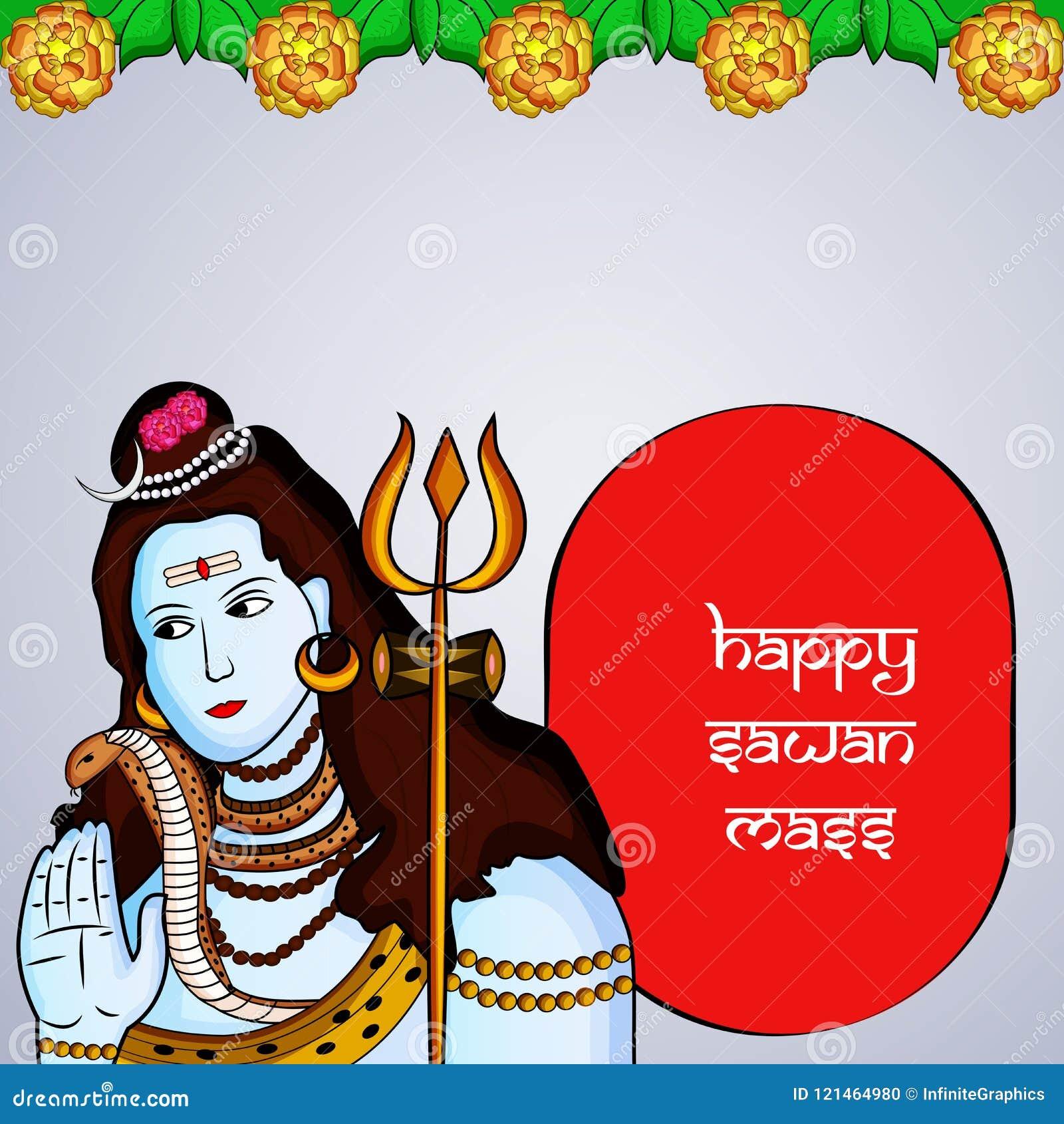 Illustration of hindu festival Sawan Mass