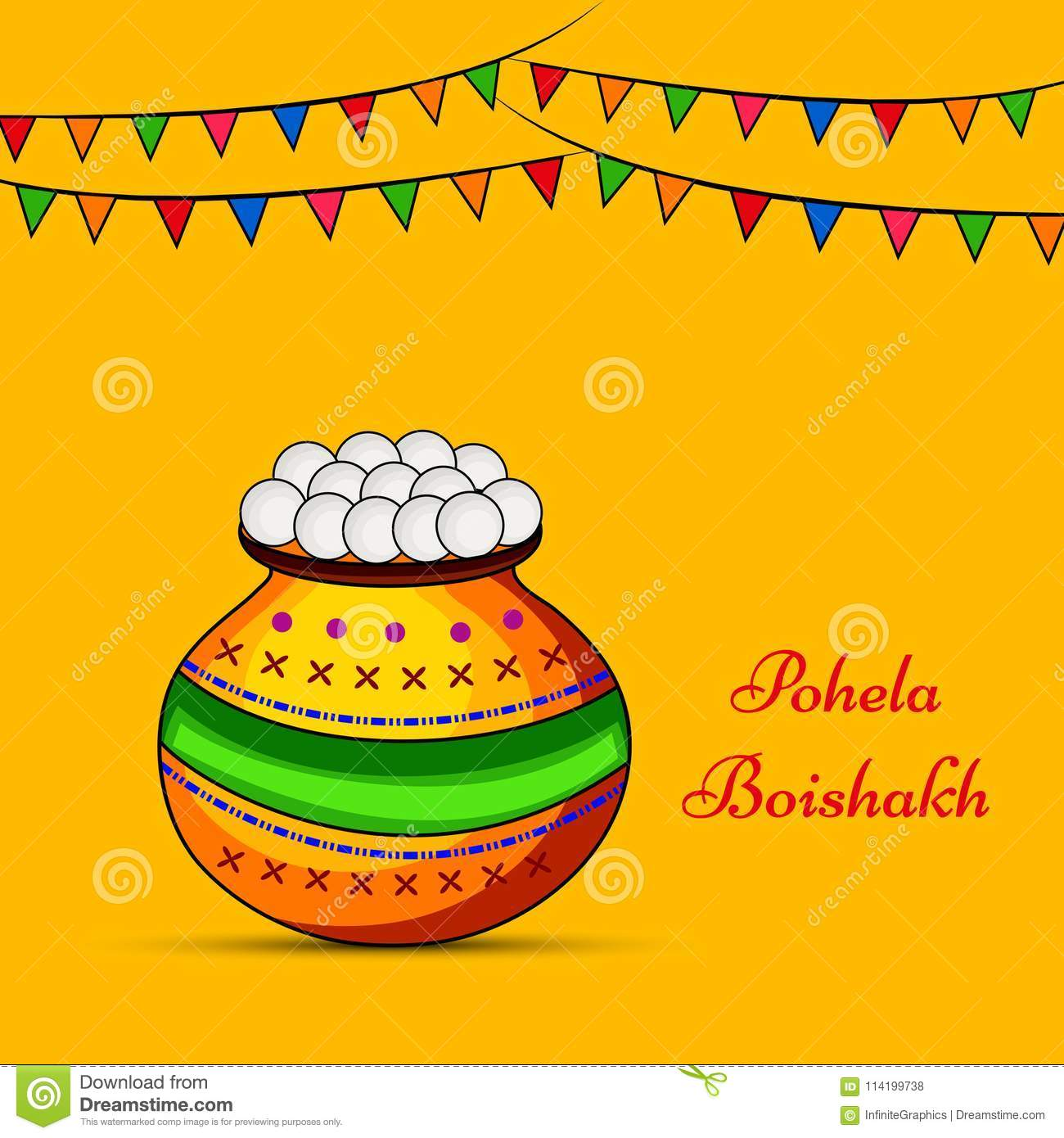 illustration of elements of indian bengali new year background pohela boishakh meaning is happy new year in bengali language
