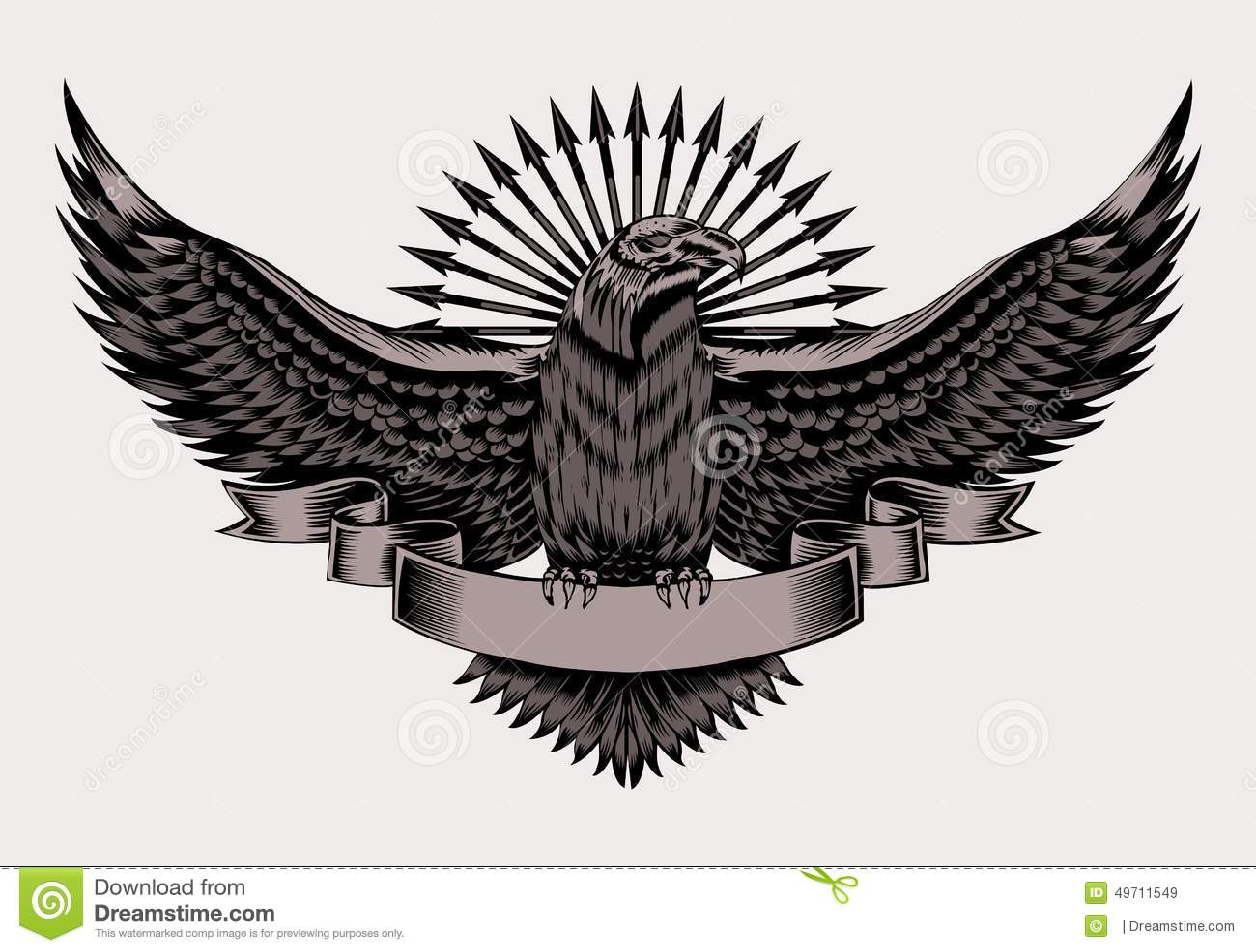 illustration of emblem with eagle stock vector image