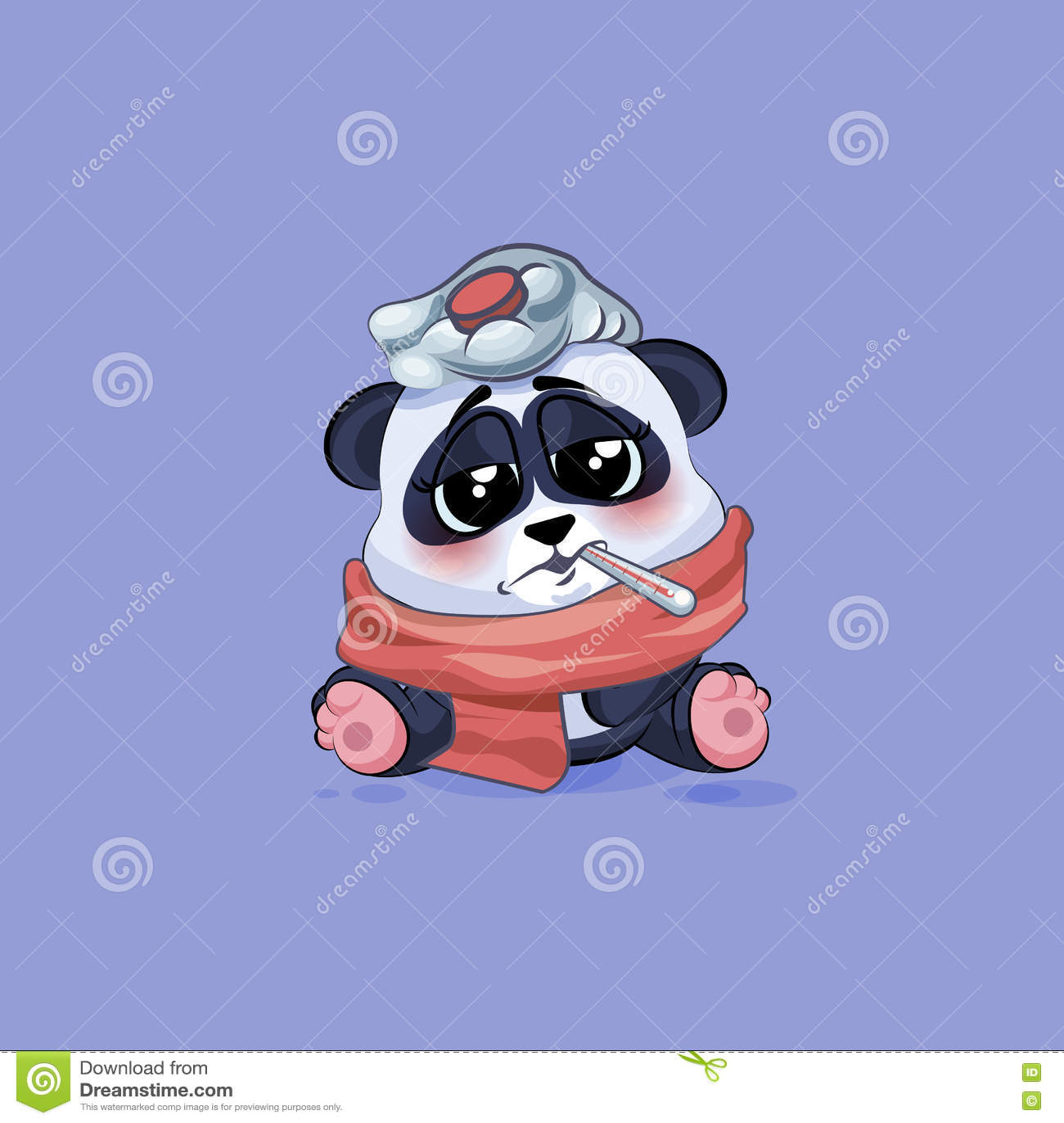 illustration emoji character cartoon panda sick with