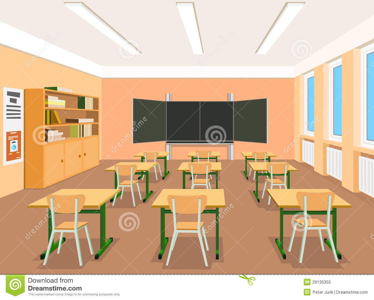 Modern Classroom Clipart : Illustration of an empty classroom stock vector