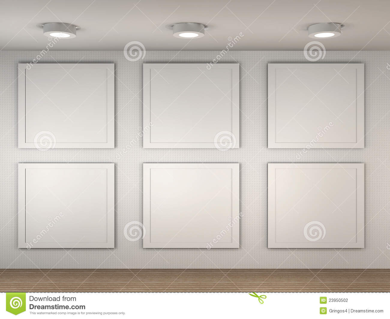 illustration of a empty museum with 6 empty frames - Museum Frames