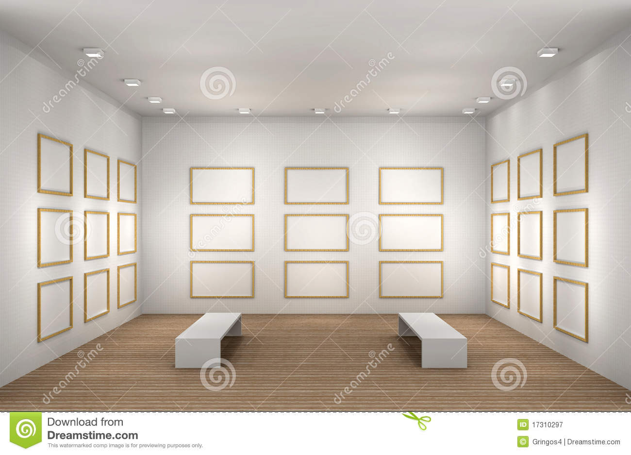 A illustration of a empty museum room with frames royalty for Stanza 3d