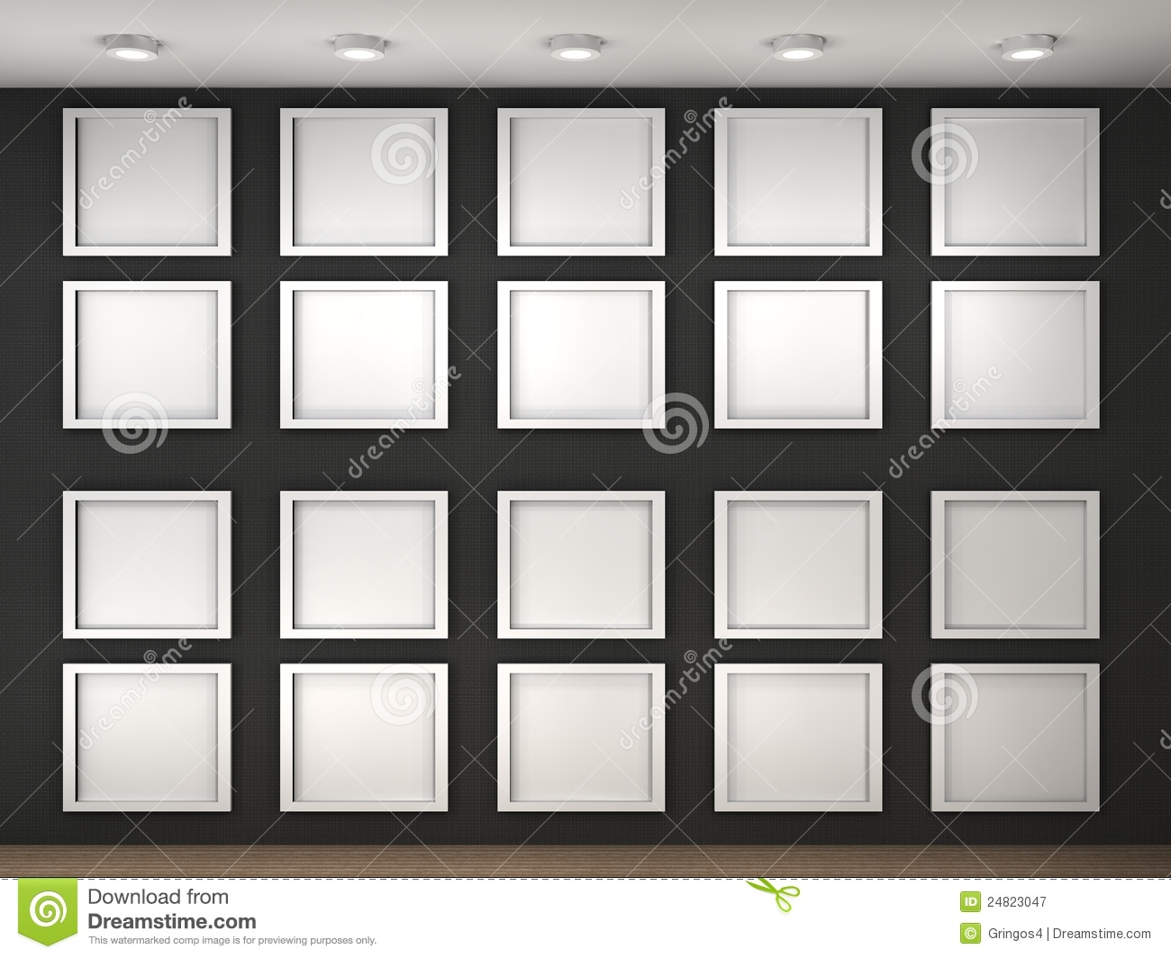 Illustration of a empty museum wall with frames stock for What to do with empty picture frames
