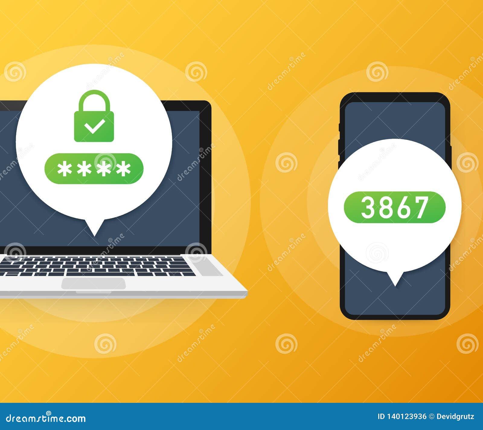 Illustration en deux étapes de vecteur d authentification, ouverture ou signe plate de sécurité de smartphone de bande dessinée e