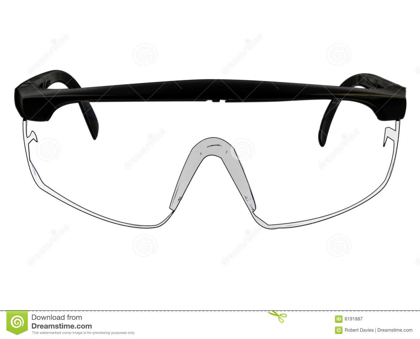 Illustration en verre de lunettes de sécurité sur le blanc