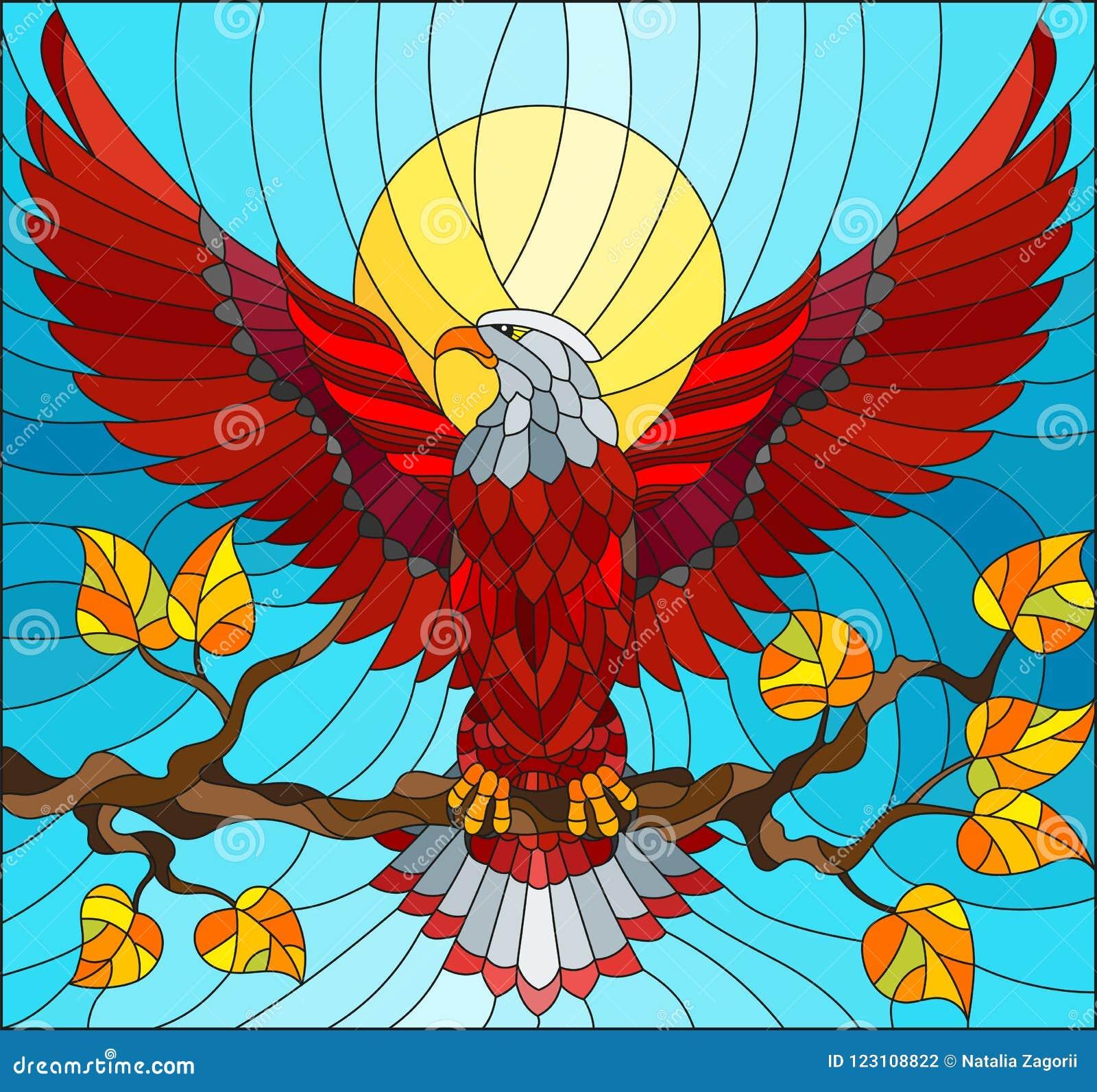 Illustration en verre souillé avec l aigle rouge fabuleux se reposant sur une branche d arbre contre le ciel