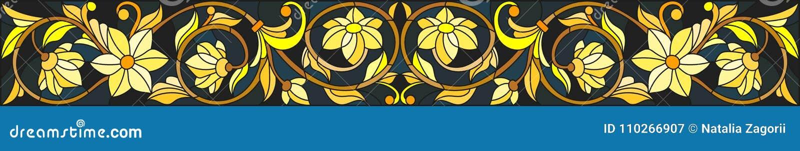 Illustration en verre souillé avec l ornement floral, l or d imitation sur le fond foncé avec des remous et les motifs floraux