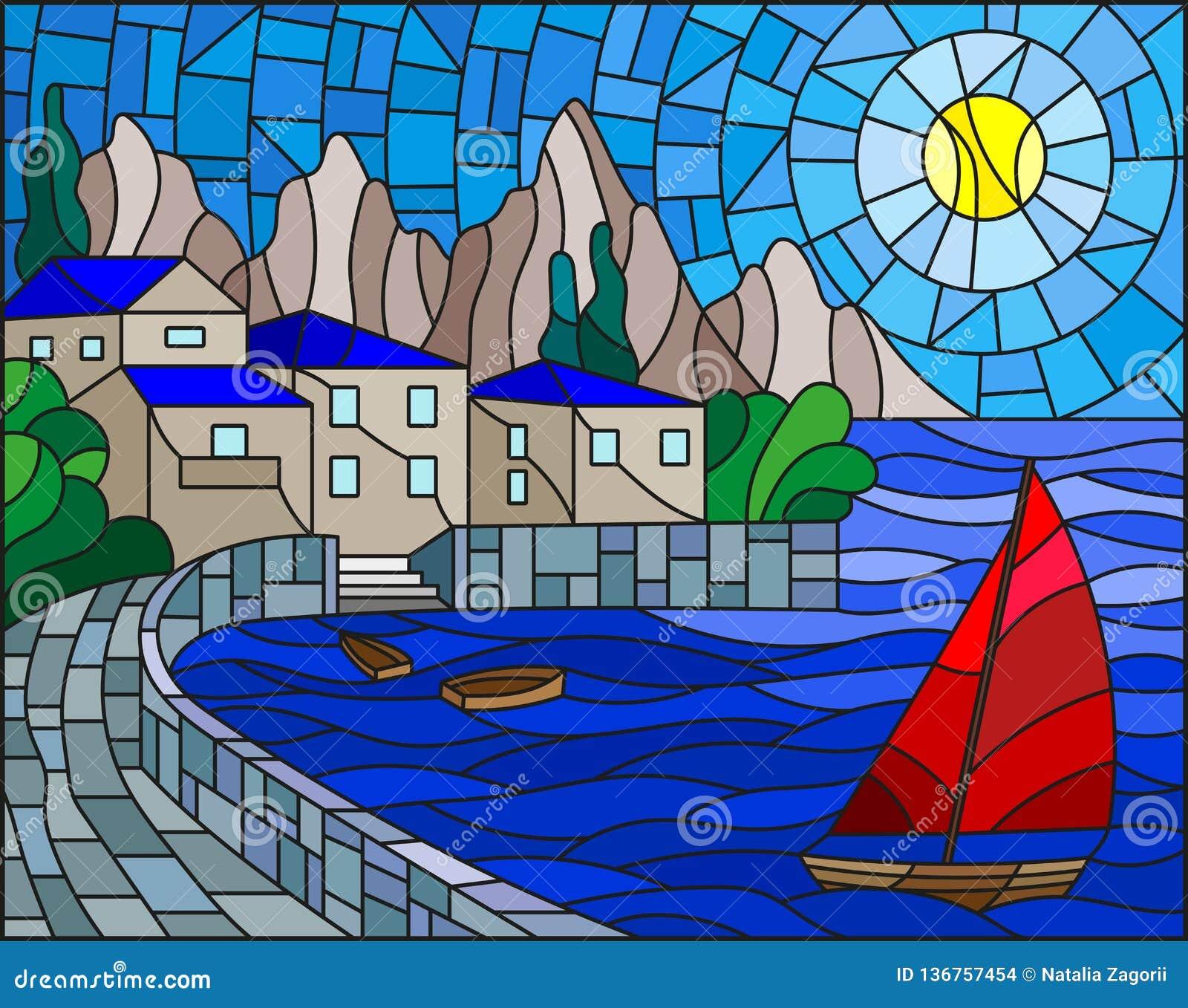 Illustration en verre souillé avec un voilier sur le fond de la baie avec la ville, la mer et le soleil du ciel de jour