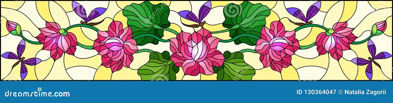 Illustration en verre souillée avec des feuilles et des fleurs de Lotus, des fleurs roses et des libellules pourpres sur le fond