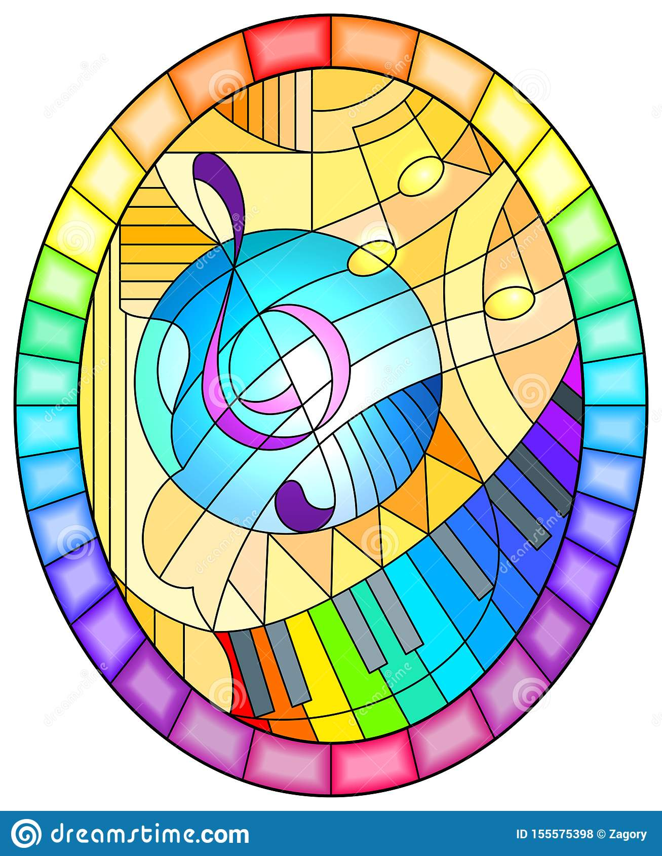 Illustration en verre souillée avec une clef triple sur le fond jaune dans le style en verre souillé, image ovale dans un cadre l