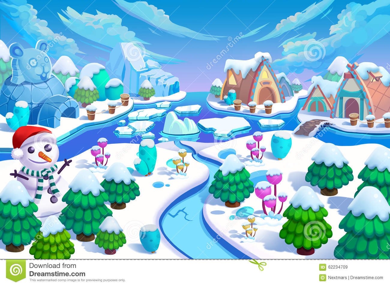 Illustration The Entrance Of The Snow World Snow Man