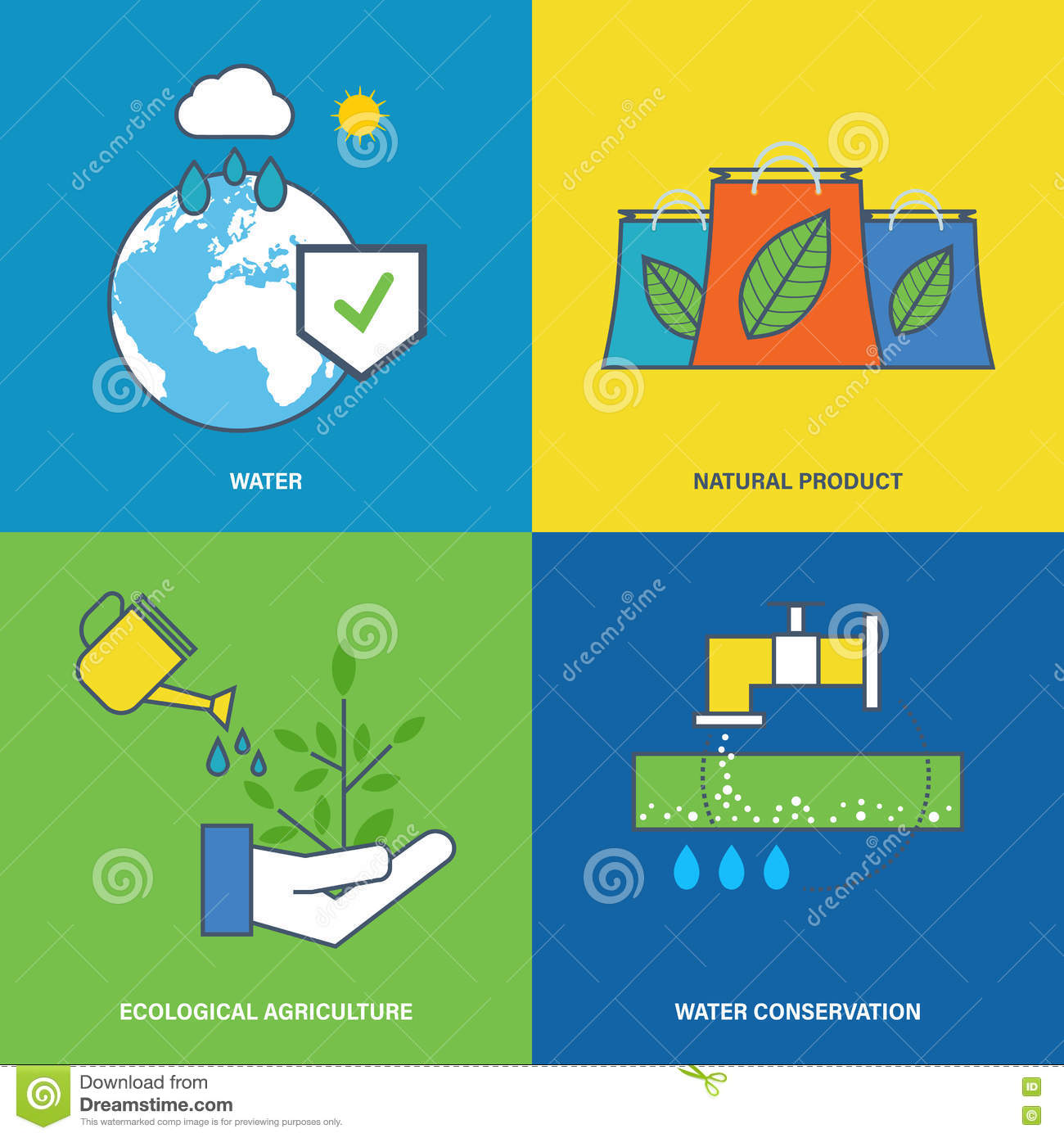 Illustration about environmental protection, preservation of water natural resources.