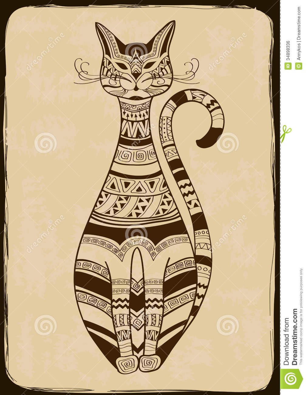 Illustration With Ethnic Patterned Cat Stock Vector