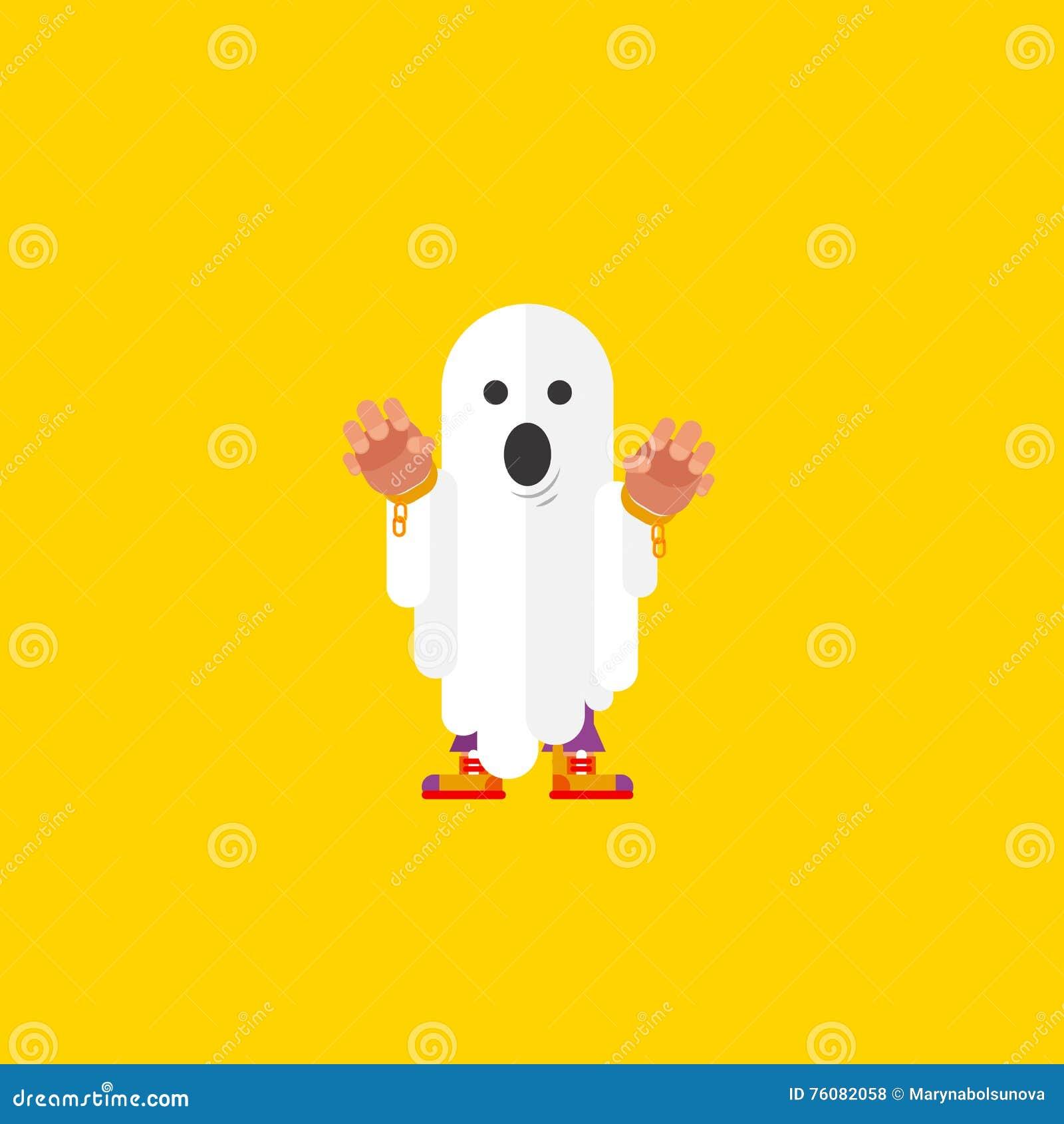 Illustration ett spöketecken för halloween i plan stil