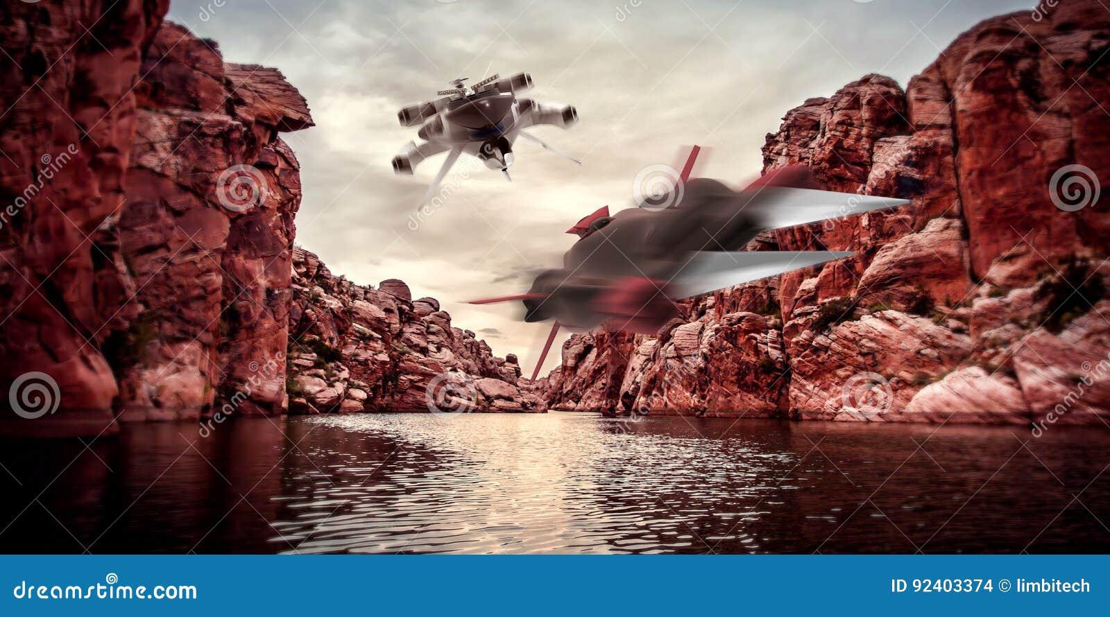 Illustration extrêmement détaillée et réaliste de la haute résolution 3D de deux vaisseaux spatiaux volant par des canyons sur un