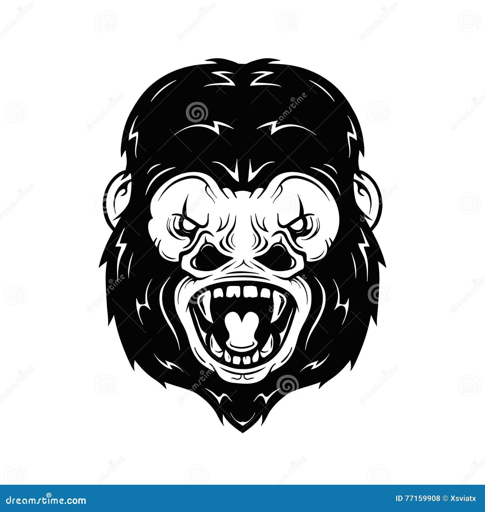 Illustration fâchée de vecteur de tête de gorille