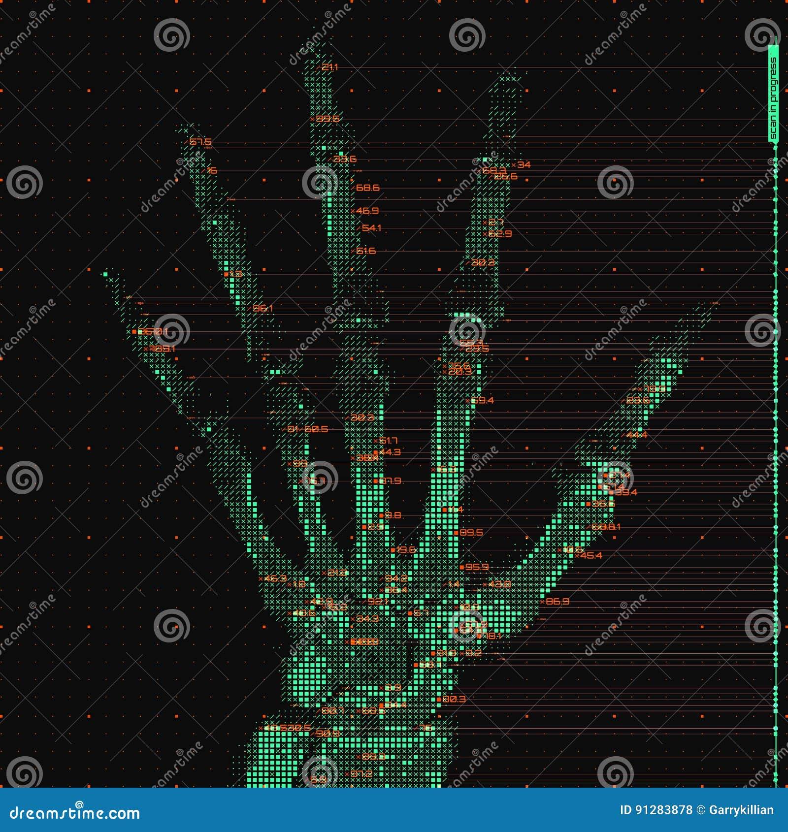 Illustration för analys för tomography för hand för vektorgräsplanabstrakt begrepp Digital gömma i handflatan röntgenstrålebildlä