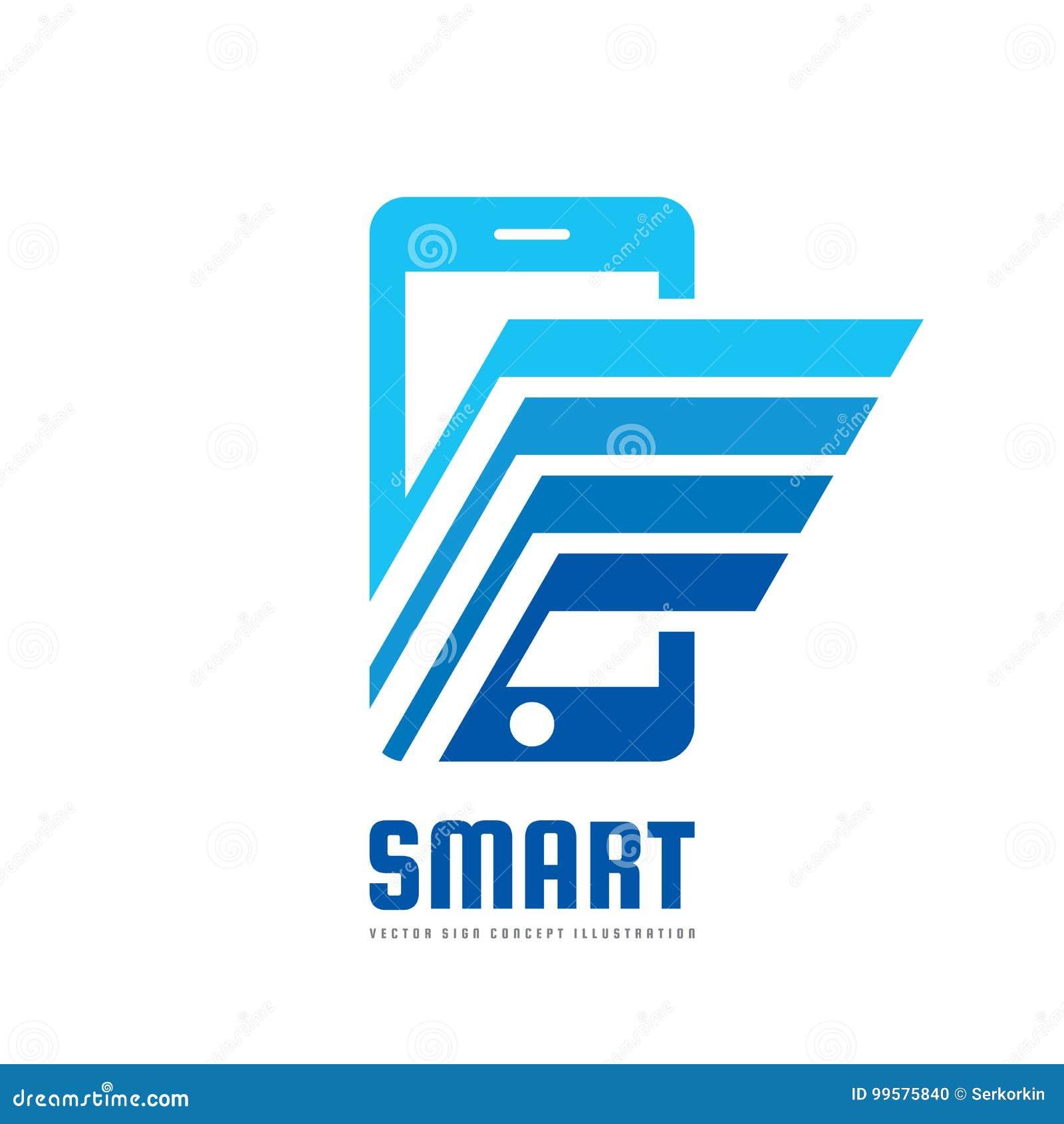 Illustration för begrepp för mall för mobiltelefonvektorlogo Smartphone idérikt tecken modern teknologi Mobiltelefonsymbol pilar