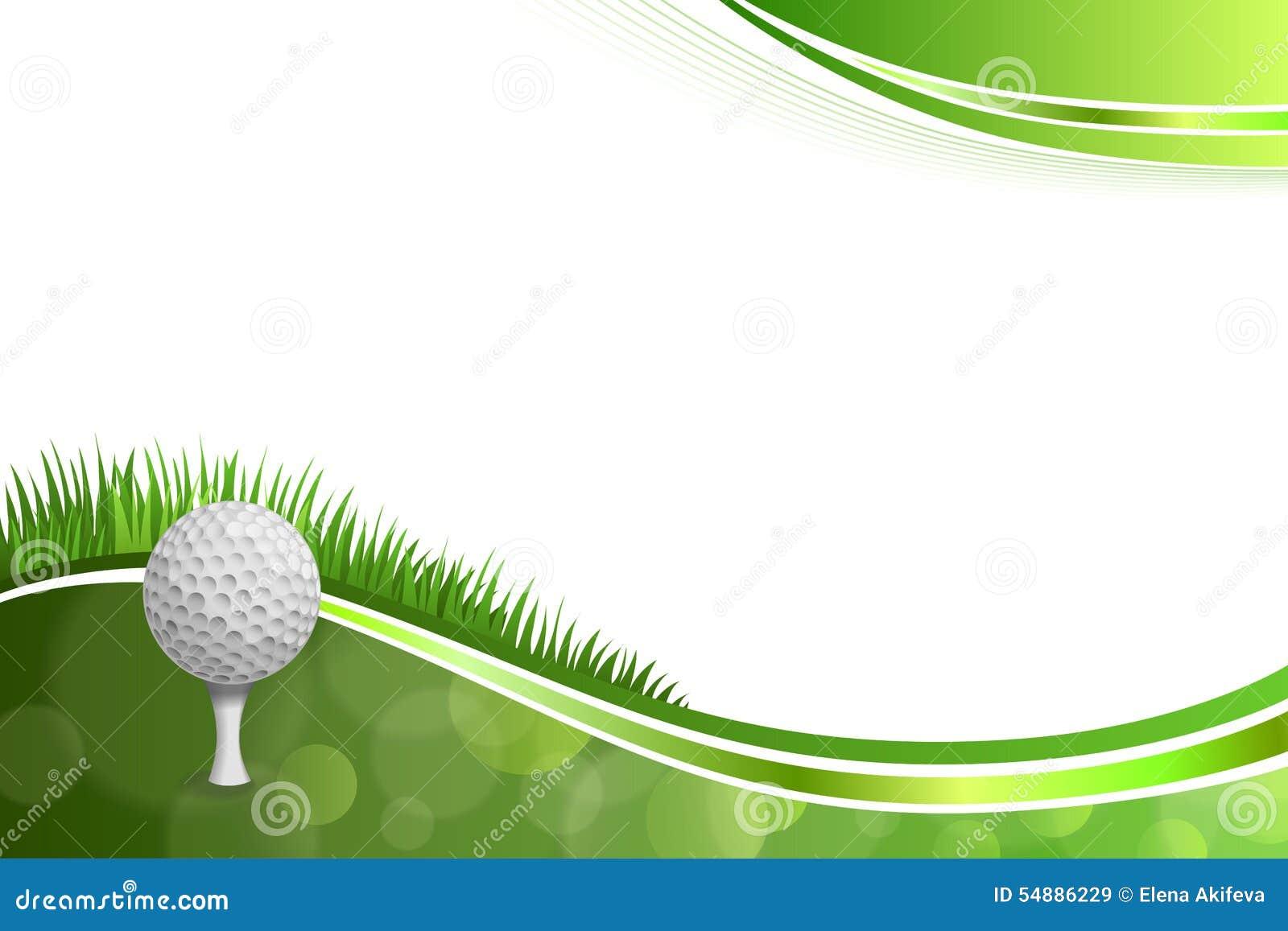Illustration för boll för golf för bakgrundsabstrakt begreppgräsplan vit