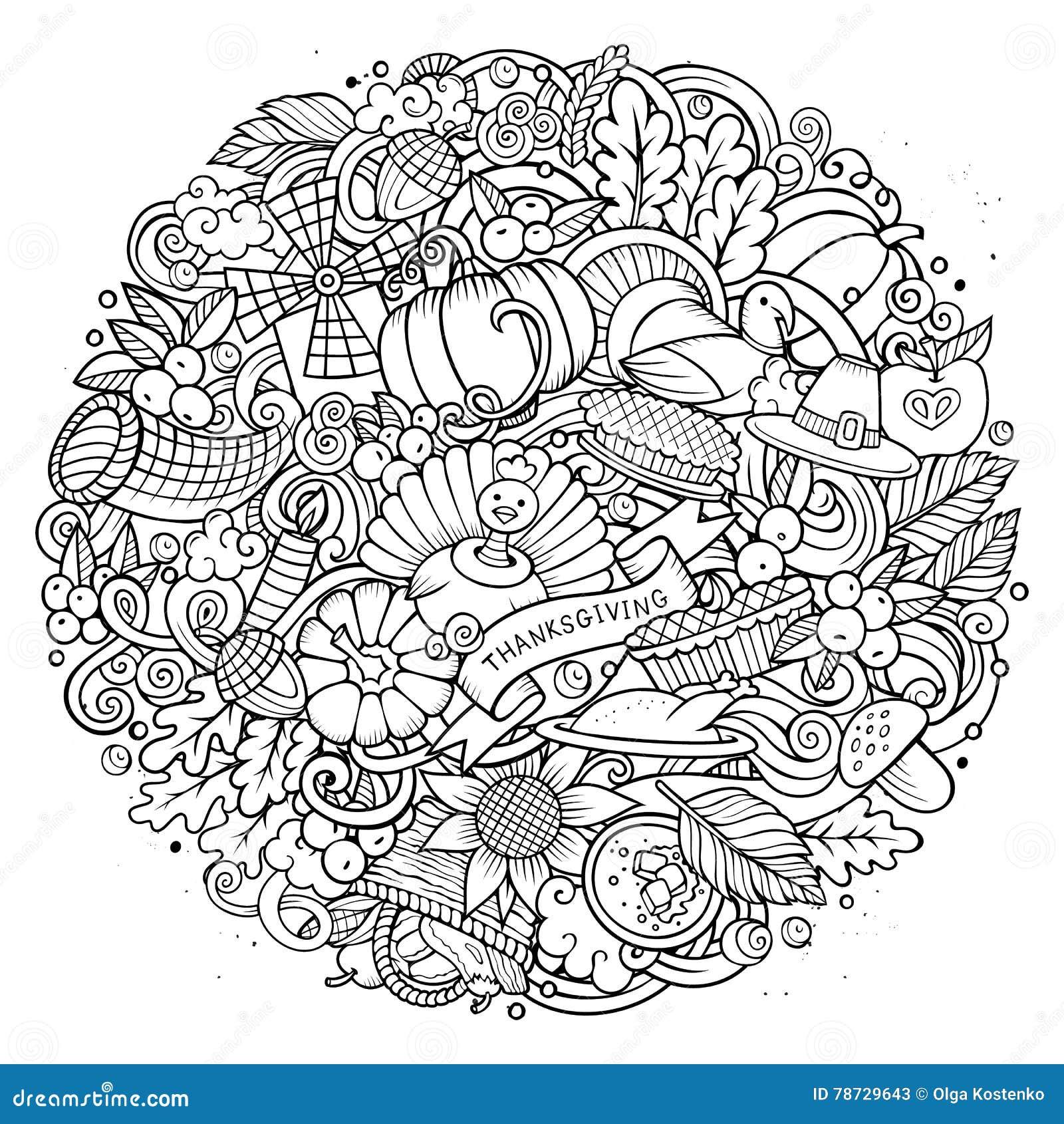 Illustration för cirkel för dag för tecknad filmklottertacksägelse